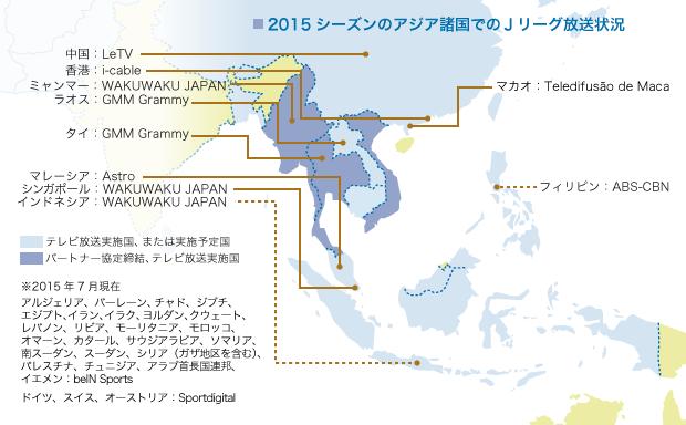 2015シーズンのアジア諸国でのJ...