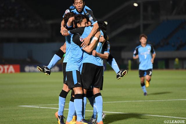 Grâce à deux nettes victoires face aux Thaïlandais de Muangthong (3-1, 4-1), Kawasaki obtient sa place en quarts de finale (photo: jleague.jp)