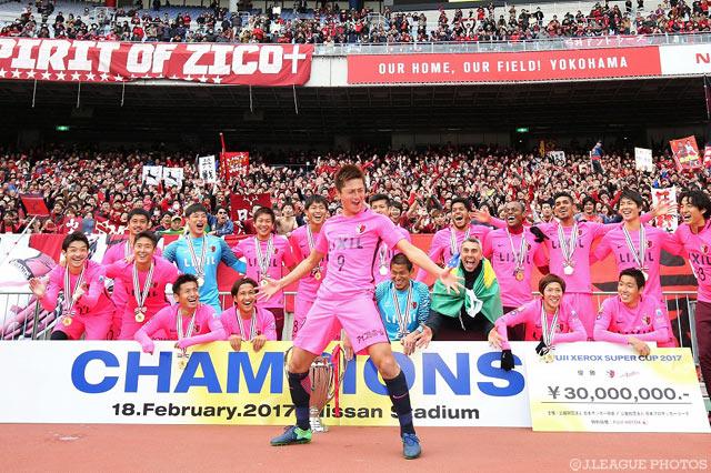 勝利の立役者となり、喜びのパフォーマンスを披露した鈴木 優磨(鹿島)【FUJI XEROX SUPER CUP 2017 鹿島vs浦和】