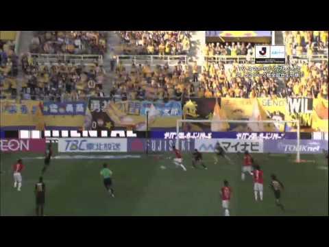 興梠 慎三(浦和) 振り向きざまに強烈なシュートを突き刺す!:仙台vs浦和(37分) J1第28節@ユアスタ